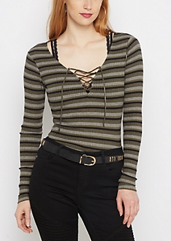 Olive Striped Lace-Up Shirt