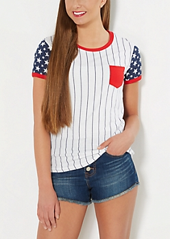 Americana Striped Ringer Top