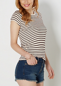 Oatmeal Heather Mini Striped Knit Tee