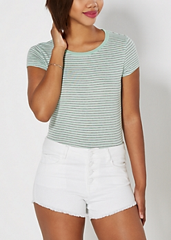 Mint Striped Ribbed Knit Tee
