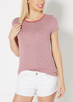 Pink Striped Ribbed Knit Tee