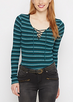 Teal Striped Lace-Up Shirt