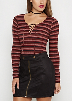 Burgundy Striped Lace-Up Shirt