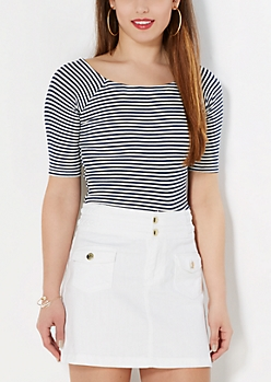 Navy Striped Off-Shoulder Tee