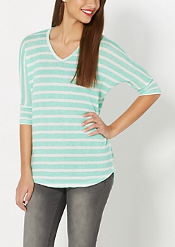 Light Green Striped Dolman Top