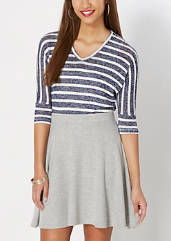 Navy Striped Dolman Top