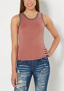 Coral Striped Ringer Tank Top