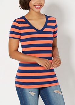 Navy & Coral Striped V-Neck Tee