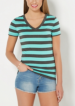 Teal & Charcoal Striped V-Neck Tee