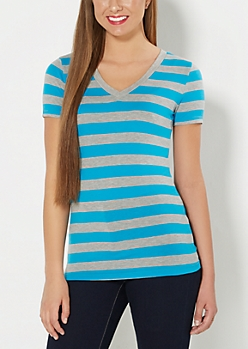 Blue & Gray Striped V-Neck Tee