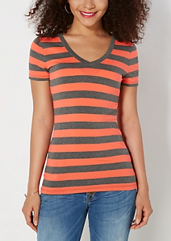 Orange & Charcoal Striped V-Neck Tee