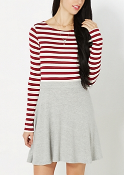 Burgundy Striped Double Scoop Tee