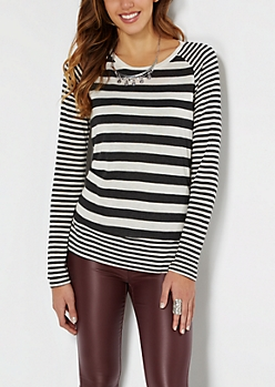 Charcoal Gray Mixed Stripe Raglan Top