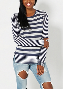 Navy Mixed Stripe Raglan Top