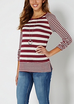 Burgundy Mixed Stripe Raglan Top