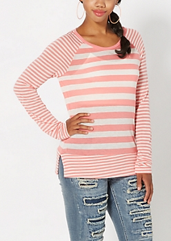 Peach Mixed Stripe Raglan Top