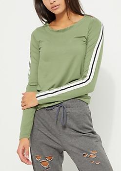 Olive Varsity Striped Soft Brushed Shirt