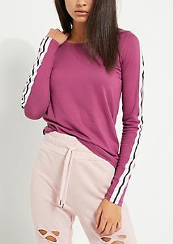 Purple Varsity Striped  Soft Brushed Shirt