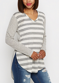 Gray Multi Striped V-Neck Ribbed Tee