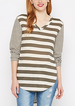 Olive Multi Striped V-Neck Ribbed Tee