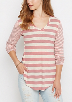 Pink Multi Striped V Neck Ribbed Tee
