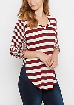 Burgundy Multi Striped V Neck Ribbed Tee