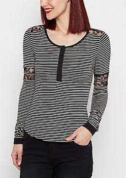 Black Striped Lace Insert Henley Shirt