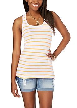 Neon Orange Striped Tank Top