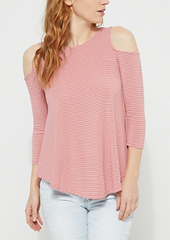 Pink Cold Shoulder Elbow Sleeve Striped Top