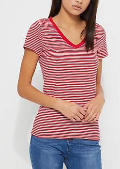 Red Striped V-Neck Knit Tee