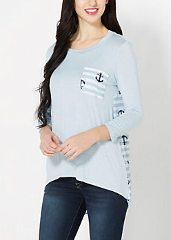 Light Blue Anchor Chiffon Back Top