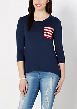 Navy Anchor Chiffon Back Top