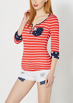 Americana Zip Yoke Top