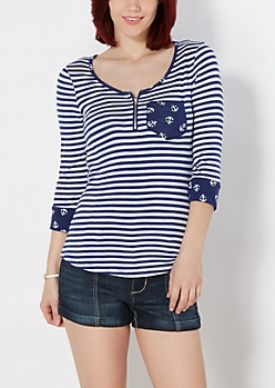 Sailor Striped Zip Front Top