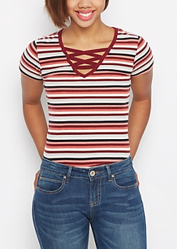 Burgundy Striped Lace-Up Ribbed Tee