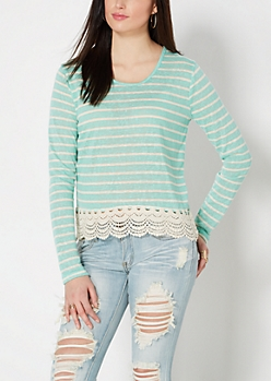 Mint Crochet Hem Striped Burnout Top