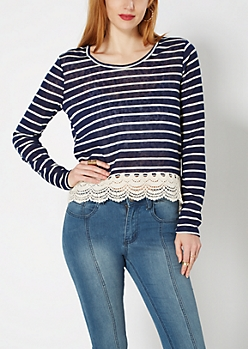 Navy Crochet Hem Striped Burnout Top