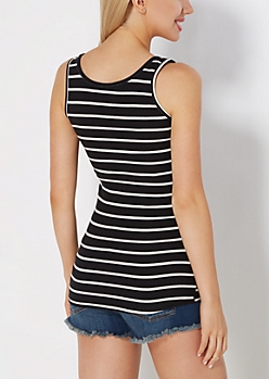 Black Slim Stripe Soft Knit Tank Top