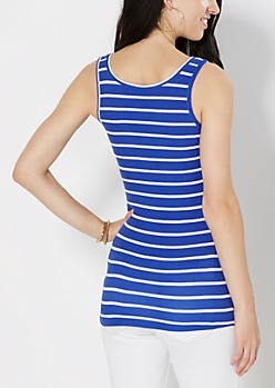 Blue Slim Stripe Soft Knit Tank Top