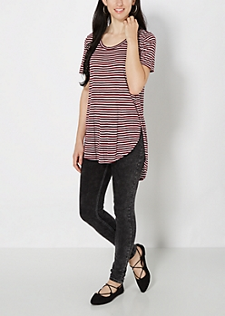 Burgundy Striped Split Seam Tunic Tee