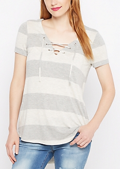 Heather Gray Striped Lace-Up Tunic Tee