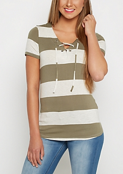 Olive Striped Lace-Up Tunic Tee