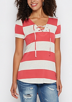 Red Striped Lace-Up Tunic Tee