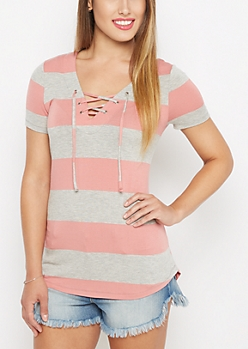 Pink Striped Lace-Up Tunic Tee