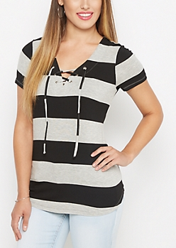 Black Striped Lace-Up Tunic Tee