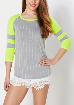 Neon Yellow Striped Baseball Tee