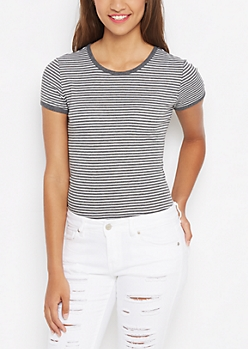 Gray Striped Ribbed Knit Tunic Tee