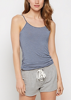 Navy Striped Jersey Knit Favorite Cami