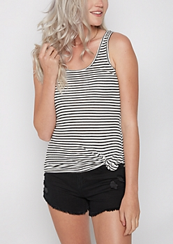 Striped Rib Knit Favorite Tank Top
