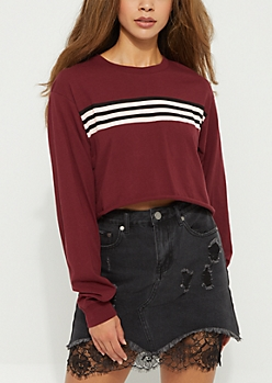 Burgundy Long Sleeve Striped Crop Top